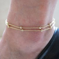Wholesale Gold Double Foot Chain Anklet Ankle Bracelet Barefoot Beach Foot Jewelry Ball Copper chain foot chain
