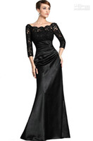 Wholesale Plus Size Bride Elastic Lace - Black Lace Sleeves Mother Of The Bride Evening Dresses Off-The-Shoulder Beads Ruched Floor-length Prom Gown dresses for womens christmas