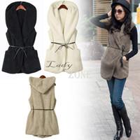 Wholesale Wholesale Faux Fur Long Vest - Wholesale-Fashion Womens Ladies Hoodie Faux Lamb Fur Long Vest Jacket Coat With Hat 5 Colors 36