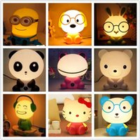 Wholesale Dc Saving Lamp - Wholesale-Creative cute cartoon rabbit Kung Fu Panda saving lamp bedside lamp night light children's Bedroom