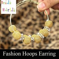 Wholesale Mesh Ball Hoop Earrings - wholesale Gold Basketball Wives Mesh Ball Beads Hoop Earrings With Rhinestone Spacer Beads