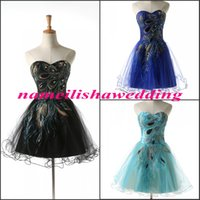 Wholesale Sweetheart Peacock Blue Prom Dress - Short Peacock Prom Dresses 2016 Cheap Real Images Black Cocktail Party Gowns In Stock Sweetheart Embroidery Sequins Mini Homecoming D2507