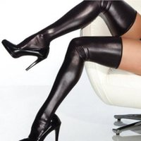Wholesale Sexy Socks Uniform - w1029 Sexy Faux Leather Black Performance Clothing Stage Games Uniforms Socks Stockings