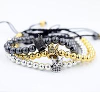 Wholesale Trendy Black Charm Bracelets - Beichong Fashion Imperial Crown Charm Men's Bracelets Micro Pave CZ Beads Trendy Anil Arjandas Braiding Macrame Bracelets