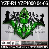Wholesale Green R1 Fairings - Gloss green 8Gifts+ Body For YAMAHA YZF-R1 04-06 YZF R1 MY41 Green black YZF1000 YZFR1 04 05 06 YZF 1000 YZF R 1 2004 2005 2006 Fairing Kit