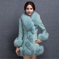 Wholesale Women Coat Collars - Fashion Autumn Winter Faux For Fur Coats Women 2015 New Arrival Women Clothing Faux PU Leather Long Fur Collar Down Jacket Coat
