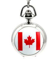 Wholesale Mirror Flags - Canadian flag design Fashion quartz White steel silver enamel Take the mirror unisex pendant Necklace pocket watch