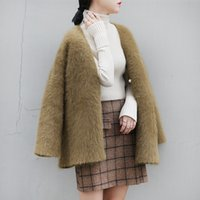Wholesale Korean Suits Shoulder Women - 2017 Autumn And Winter New Pattern Suit-dress Long Sleeve V Lead Cardigan Sweater Loose Coat High-end Korean Major Suit Fund Blouse