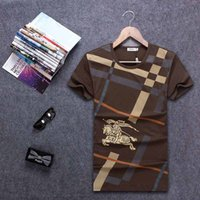 Wholesale Cloth Printing Designs - Wholesale-2016 summer new men's famous brand design fit T-Shirt brown white short-sleeved T-shirt for men printing cloth M- XXL