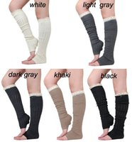 Wholesale Foot Warmer Sock Girl - spring autumn leg warmer lace stockings womens boot socks thigh socks Leggings foot cover knee high 2015 D682J