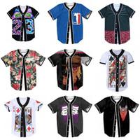 Wholesale 4xl Button Shirt - Hot sales Mens 3D Shirt Buttons Homme Streetwear Tees Shirts Hip Hop Bel Air 23 - Fresh Prince Custom Made Baseball Jersey