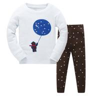 Wholesale Korean Sleepwear - 2017 new spring style children's pure cotton underwear two-piece suit Korean edition cartoon children's pajamas sleepwear kids clothes