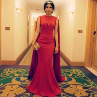 Wholesale Model Cape Winter - Robe de Soiree Dubai Kaftan Red Mermaid Evening Dress 2016 Middle East Saudi Arabia Formal Prom Dresses with Cape Vestidos de Fiesta Longo