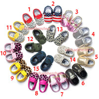Wholesale Leopard Print Unisex Baby Shoes - 15 Color Baby moccasins soft sole 100% genuine leather first walker shoes leopard print newborn stripe shoes Tassels maccasions shoes B001