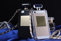 Wholesale Galaxy S4 Case Hot Sell - Hot Selling!Luxury Perfume Bottle Soft TPU Case Cover With Gold Leather Chain For Iphone 4 4s 5 5s For Galaxy S5 S4 Note 4
