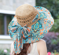 Wholesale Large Sun Shades Outdoor - DHL free shipping 2016 New bohemian beach hats caps large brimmed straw hat female Korean large outdoor sun shade along the beach hat 80pcs
