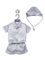 Wholesale Original Baby Clothes - Wholesale-New original newborn baby boy clothing set baptism christening party wedding for 0-2T baby bodysuits wear 70684