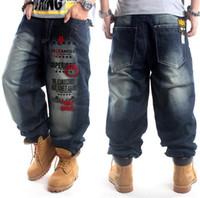 şişkin baskılı kot pantolon toptan satış-Yeni Artı Boyutu hip hop baggy kot erkekler Mektup Baskı hip hop dans pantolon Kaykay Kot Gevşek Tarzı erkekler için en popüler kot