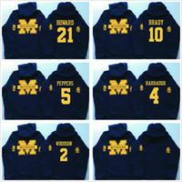 xxl navy hoodie großhandel-Männer Michigan Wolverines Kapuzenpullis Jim Harbaugh 4 Desmond Howard 21 Charles Woodson 2 Tom # 10 Marine Brady College mit Kapuze Pullover