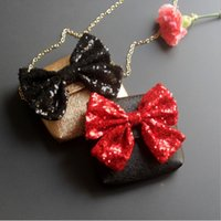 Wholesale Sequin Toddler - Fashion Girls Princess Bags New Sequin Bow Toddler Designer Purses Sweet Bows Children Messenger Bag Kids Mini Handbag C2509