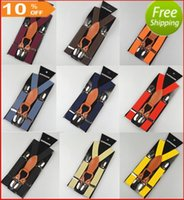 Wholesale Suspenders For Men Colors - Free shipping 2.5*65cm 4 clips-on Leather Cheap Nice Big Promotion Suspenders for baby 29 colors adjustable elastic braces Kids Accessories