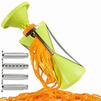 ingrosso affettatrici di aglio-Più nuovo 4 lama sostituibile a spirale verdura affettatrice taglierina vegetale Spiralizer grattugia a spirale per carota cetriolo zucchino