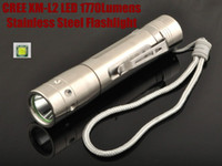 Wholesale T6 Stainless Led - Unique Fire CREE XM-L2 LED Stainless Steel 1770 Lumen 5 Mode led Flashlight Torch For 3 x AAA or 1 x 18650 - Free shipping