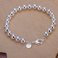 Wholesale Jade Bracelet Bangle Sterling Silver - 21cm Men's bracelets 8mm Hollow Balls bangles cool Jewelry 925 sterling silver H126 Pulseira de Prata