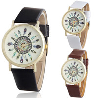 Wholesale Unique Womens Wrist Watches - Womens Vintage Feather Dial Leather Band Quartz Analog Unique Wrist Watches Kimisohand