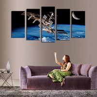 Wholesale Space Art Paintings - High Quality Canvas Art 5 Panel Outer Space Satellite Painting Home Decor Unframed Gift Painting Hot Sale