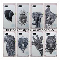 Disegnato lo stile di Vtg all'ingrosso Head Case Aztec Elefante Giraffa Arto superiore animale Cover posteriore per iPhone Animal 5 5S