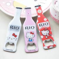 Wholesale Kitty Bottle Opener - New Multi color cute Hello Kitty opener Novelty Rio Bottle Shape Bottle Opener dual Fridge Magnet