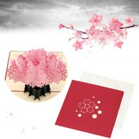 Sakura Design Birthday Wedding Invitation Card 3D Handmade Christmas New Year Party Открытка Pop Up Складной киригами Envelop
