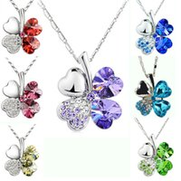 Wholesale Glass Necklace Heart - Fashion petal necklace Four Leaf Clover necklace top grade diamond necklace multicolor crystal rhinestone necklace Pendant Necklaces Jewelry