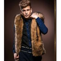 Wholesale New Male Vest Men S - Fall-2016 Fashion Winter Men Fur Vest New Hoodie Thick Fur Hooded Men Waistcoats Sleeveless Coat Outerwear Male Clothing Coats Y279