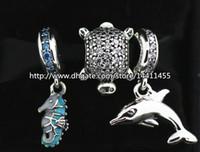 europäisches murano glas tier perlen großhandel-S925 Sterling Silber Charms und Murano Glasperlen Set mit Charm Box passend für Pandora Jewelry Charm Bracelets-Animal Set