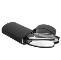 lunettes de lecture encadrées noires achat en gros de-MINI Conception Lunettes De Lecture Hommes Femmes Pliant Petits Lunettes Cadre Noir Métal Lunettes Avec Boîte D'origine