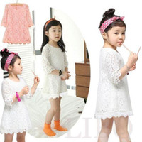 Wholesale Toddler Princess Dresses Casual - 2016 New Kids Beautiful White Girls Toddler Baby Lace Princess Party Dresses Solid Party Brief Casual Dress Child Clothes Fashion