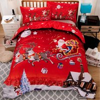 Wholesale Pillow People - 4pcs Christmas Theme Pattern Pattern Bedding Set Twin Full Queen Size Home Textiles Duvet Covers Bed Linen Pillow Cases Wholesale 3D Bedding