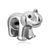 Wholesale pandora elephant - Personalized jewelry cute elephant animal European bead metal charm ladies bracelet with big hole Pandora Chamilia Compatible