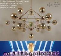 Wholesale Modo Light - TOP25 5 10 15 18-21-Lights Globes Gold MODO Chandelier Golden Color Glass Jason Miller Pendant Lamp Living Room Droplight Lights Lighting