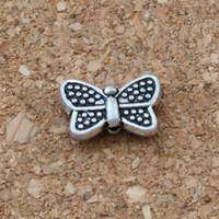 ingrosso spacer della farfalla-MIC 200 pezzi lega di argento antico perline distanziatore 1mm foro misura braccialetto di perline gioielli fai da te D41