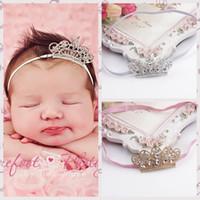 corona de chicas guapas al por mayor-Baby Girl Kids Cintas para el pelo Accesorios Crystal Crown Sparking Princesa Infantil Headwear para niños Pretty Headbands White Pink