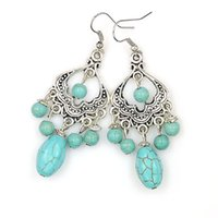 Wholesale Exotic Turquoise Jewelry - Bohemian Tibetan Silver Turquoise Earrings vintage exotic drop fashion earrings wholesale Jewelry for girls free shipping E84