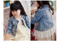 Wholesale Spring Jackets Baby Girl - Babies clothes denim lace girls jackets Girls Leisure Washed Denim Jacket kids clothing children Overcoat Outwear