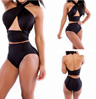 Hot selling High Quality Women High Waisted Bathing Suits Slim Black Push Up Chest Wrapped Halter Bikini 5 colors