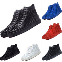 Wholesale Spike Heel Wedges - High Top Studded Spikes Casual Flats Red Bottom Luxury Shoes 2016 New For Men and Women Party Designer Sneakers Lovers Genuine Leather