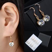 Wholesale Golden Earrings Hooks - 20Pair lot Chic Fashion Golden Ear Hook Round Crystal Zircon Drop Dangle Earrings Women Jewelry Wholesale Cheap Drop Free Ship