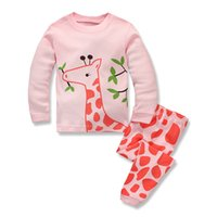 Wholesale dinosaur pyjamas - Cute Children Pajamas Girls Nightwear Cartoon Deer Dinosaur Pyjamas Two piece set Sleepwear homewear Cotton 2017 new Autumn Winter