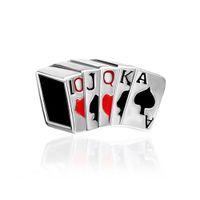 Wholesale Flush Poker - MYD Jewelry Large Hole Metal Bead Royal Flush Poker European Charms Fits Pandora Bracelet
